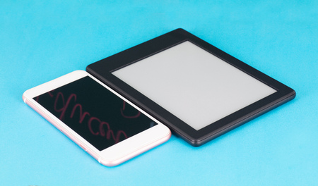 E-reader and mobile phone