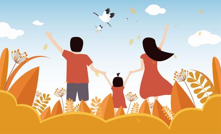 Family autumn tour Illusztráció