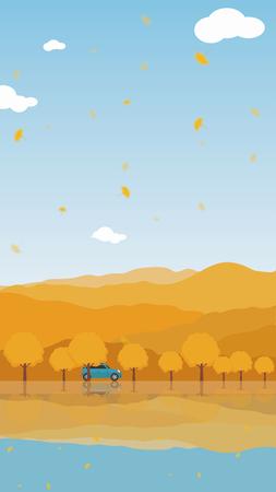 Autumn self-driving tour background