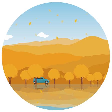 Autumn self-driving tour illustration Ilustrace