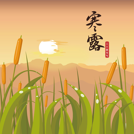 Cold dew - the 17th solar term in traditional East Asian lunisolar calendars Stock Illustratie