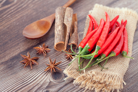 Red pepper and spoon and aniseed Imagens