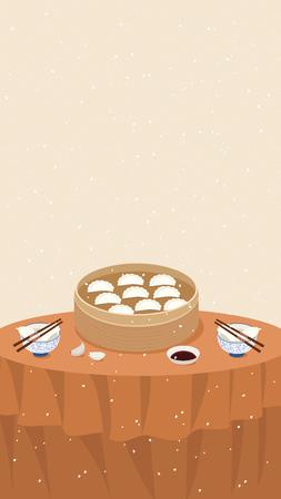 Dumplings poster design Illustration