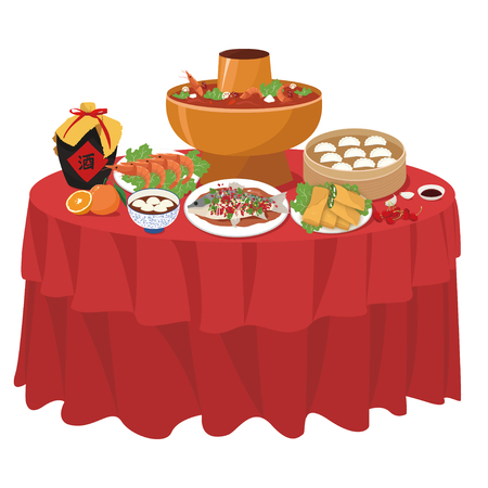Chinese New Years Eve dinner illustration