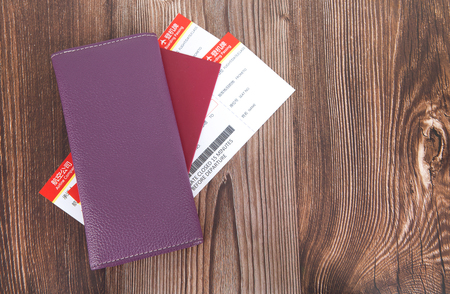 Wallet and passport and ticket