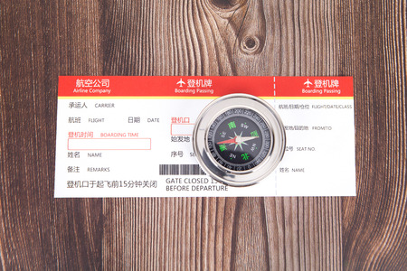Air ticket and compass