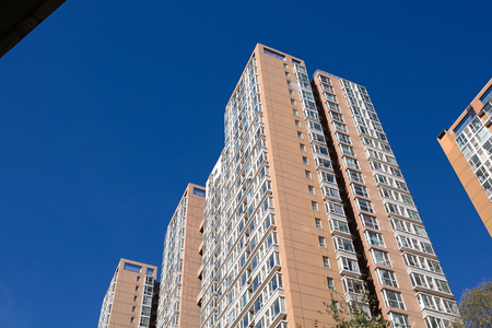 High-rise community under the blue sky
