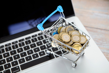 Trolley model full of euro coins on laptop