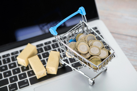 Trolley model and cargo loaded with euro coins on laptop