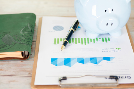 Financial chart information and notebook and piggy bank Imagens