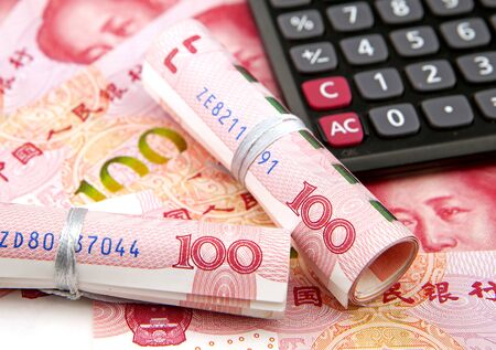 Financial money concept with banknote and calculator