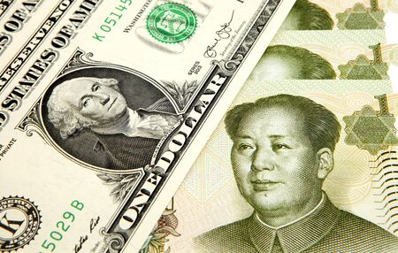 Currency exchange concept, USD with RMB banknote