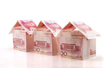 A row of RMB folded small houses