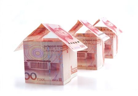 Creative paper money in small house shape