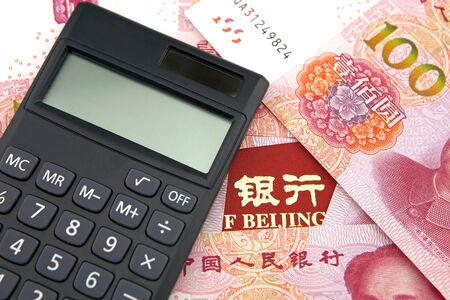 Banking concept, RMB banknote and calculator