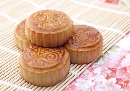 Moon cakes with tea, refreshments of mid autumn festival