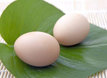 Eggs on green leaf