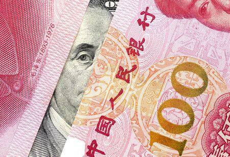 US Dollar with Chinese Yuan Stockfoto