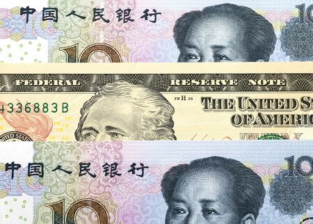 Foreign Exchange Rate concept, USD with RMB