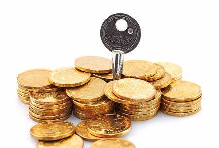 financial concept, coins with key Imagens