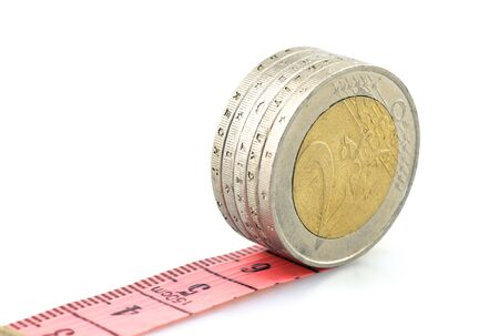 financial concept, Euro coins with soft ruler