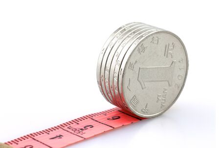 financial concept, coins with soft ruler Imagens