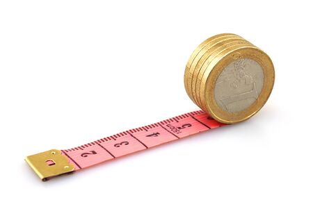 Financial ideas, tape measure and coins 版權商用圖片