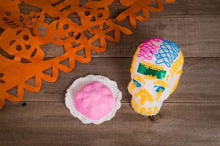 Skull and Dead Bread made with sugar paste by mexican artisans. Stock Photo
