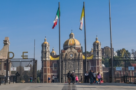 VILLA OF GUADALUPE, MEXICO CITY, DECEMBER 04, 2017 - The Villa of Guadalupe is the most visited Marian sanctuary in the world, only after the Basilica of Saint Pedro. It is estimated that about twenty million pilgrims visit it annually.