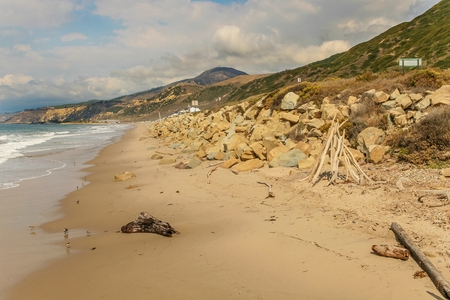 Panoramic view of a rocky beach in Faria Beach National Park, in Ventura County, California. Stock Photo