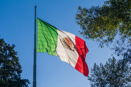 A Mexican flag waves majestically on top of a flagpole located in the Luis G. Urbina Park, popularly known as the Sunken Park in the south of Mexico City. On February 24 is celebrated in Mexico the Flag Day and on September 16 the Independence Day, very important dates for all Mexicans.