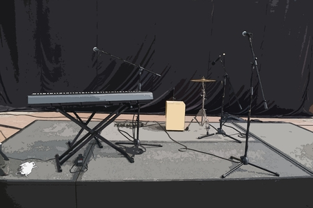 Illustration of some musical instruments such as an electronic keyboard, some cymbals and several microphones with their pedestals, arranged on a wooden platform and a black backdrop as background in an improvised stage in a mall in Mexico City. 版權商用圖片