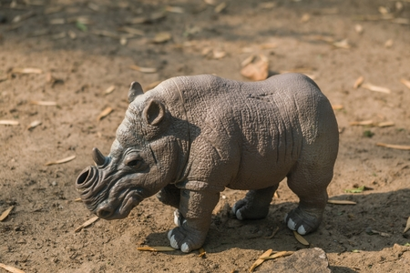 MEXICO CITY - MAY 21, 2017. Horizontal shot of a white toy rhino without a horn on a natural terrain. On March 20, 2018, in a reserve in Kenya, � � � � �,�� � ... 新聞圖片