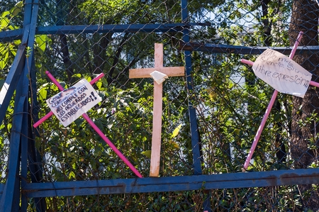 Reforma Avenue, Mexico City - March 25, 2018. Assembly carried out mainly by women on Reforma Avenue and The Angel of Independence where they placed thousands of wooden crosses in pink with various messages as a protest against of feminicide and insecurit Editorial