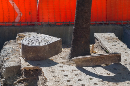 Take in horizontal format of some culverts that are replaced on the sidewalks of Reforma Avenue during the construction of Line 7 of the Metrobus in Mexico City.