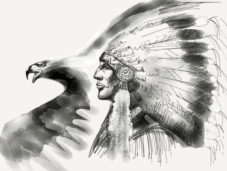 Native american chiefs and eagle drawing