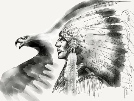dessin noir et blanc: chefs autochtones américains et dessin aigle