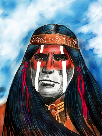 Native american portrait 版權商用圖片