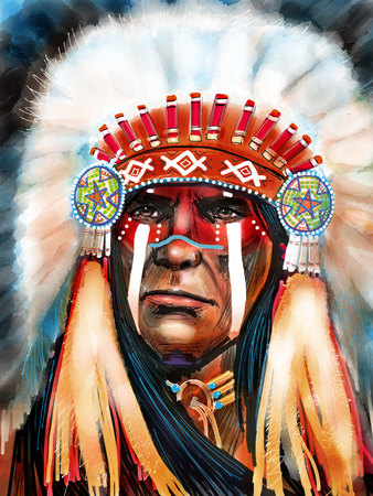 Native american portrait chief 写真素材
