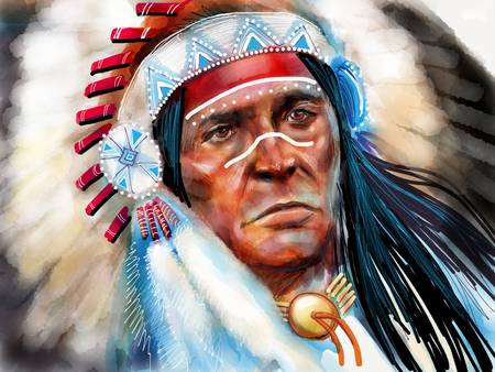 Native american portrait chief Stock Photo