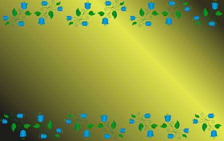 unusual pattern of hand-drawn blue bells with green leaves and curls on a gold background. background for postcard or cover Stock Vector - 124907195