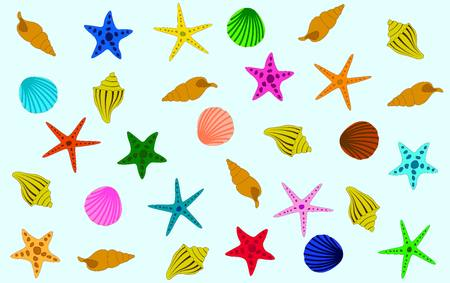 red, yellow, orange, green, purple, blue and pink starfish and shells against a blue background. sea pattern