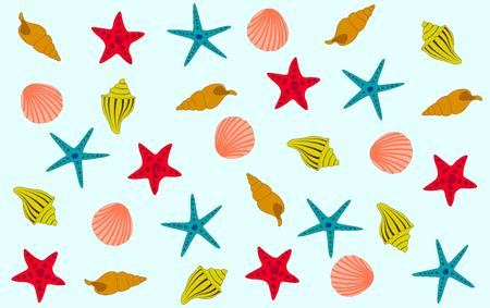 red, yellow, orange, blue and pink starfish and shells against a blue background. sea pattern