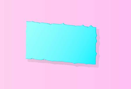 lightlight blue squared banner with jagged edges with shadows on a pink background blue banner on a pink background Illustration