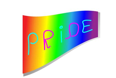 Unique hand-drawn inscription Pride in pink and blue on a rainbow background. Flag. lgbt symbolism