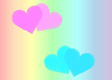unusual pink and light blue pairs of hearts of different shades against the background of a gradient rainbow color. lgbt symbolism
