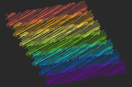 unusual multicolored stripes painted in rainbow-colored scribble on a black background. lgbt symbol