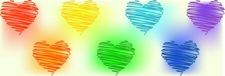 unusual hearts drawn with scribbles of different colors of the rainbow on a white background with gradients. symbols lgbt