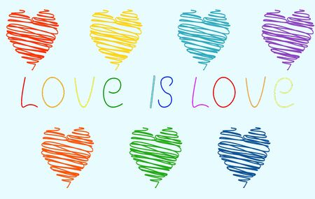 unusual hearts painted with scrawl of different colors of the rainbow on a light blue background and the inscription love. Symbols lgbt