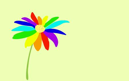 Daisy flower with petals of rainbow colors of red orange yellow green light blue blue violet flowers gently light blue background. lgbt symbol